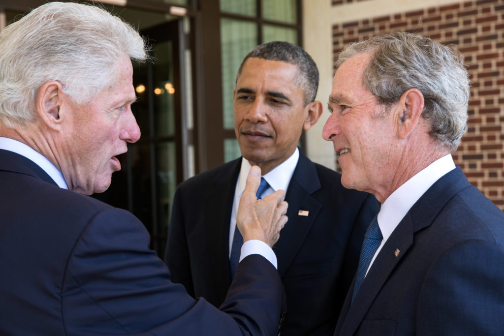 Bill Clinton, Barack Obama, George W. Bush.