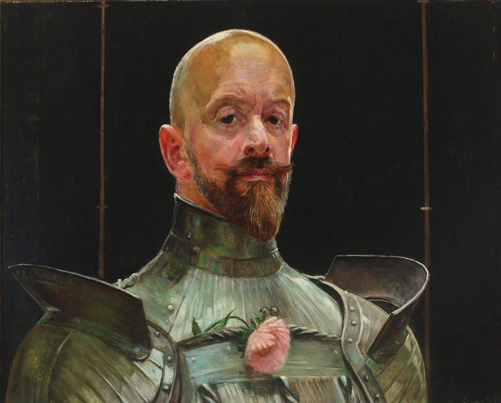 """Jacek Malczewski, """"Autoportret w zbroi"""", 1914."""