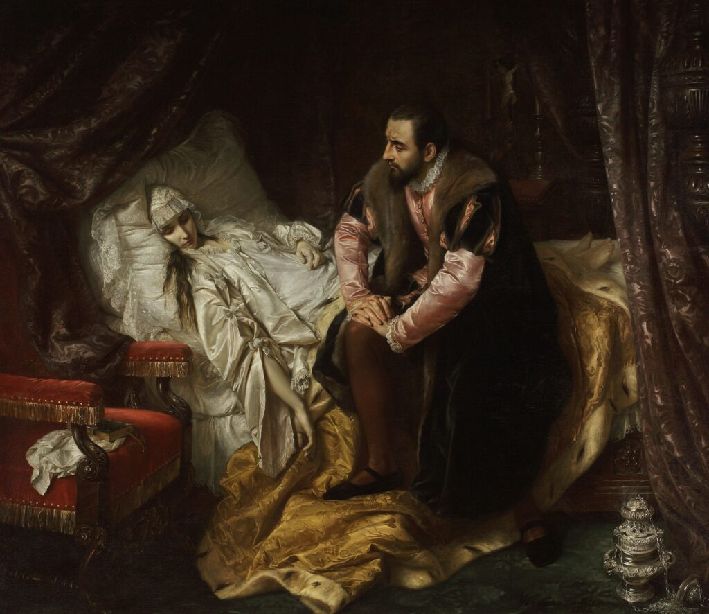 """Józef Simmler, """"Śmierć Barbary Radziwiłłówny"""", 1860"""